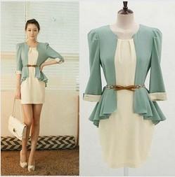 2014 New 2 IN 1 Women Korean Fashion OL Half Sleeve Chiffon Dress With Belt