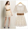 Newest women summer lace hollow out dresses, beige dresses with belt, O-neck, S M L XL -free shipping
