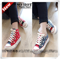The trend of fashion elevator platform applique retro finishing flag high low female canvas shoes