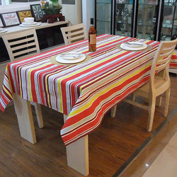 Quality stripe cloth 100% cotton canvas table cloth tablecloth(China (Mainland))