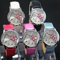 Wholesale10PCS/LOT leather watches Fashion Hello Kitty Ladies Women's Quartz Wrist Watches High quality Free & Drop Shipping