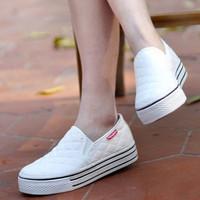 Single shoes platform canvas shoes lazy pedal slippers women's shoes platform shoes