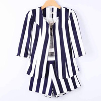 Hot selling 2013 runway spring and summer women's fashion brief vertical stripe print casual slim jacket shorts twinset