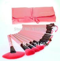 Free Shipping Fashion 24 Pcs/Set Professional Makeup Brush Set Cosmetic Brushes Tool Kit / Sets Pink Cute Makeup Tool