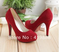 2013 spring and summer single shoes brief nubuck leather round toe platform women's ultra high heels shoes size 34-43 free ship