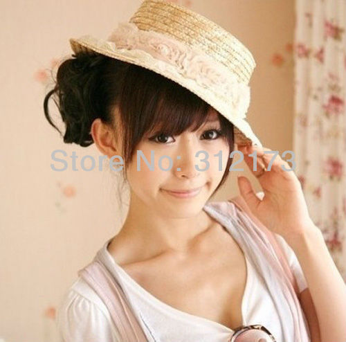 free shipping---women sun hats adult flower caps pretty lace ca[s lovely women straw hats causal beach caps sunbonnet 1pcs 04176(China (Mainland))