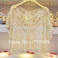 Free Shipping 1pc New Hotsale Women Sweet Lace Flower Batwing Casual Blouse Shirt Top  ay651400