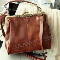 Free Shipping 1pcs New Women's Brown Europe Retro Vintage Shoulder Purse Handbag Totes cx640215