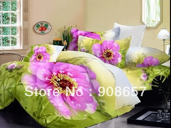 cotton bedlinen fuchsia flower green print cheaper bedding set discount home textile quilt/duvet covers for Full/queen comforter