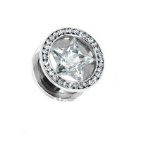 Pair (2) Large Clear CZ Star Gem Rim Ear Plugs Screw Fit Tunnels Hollow Steel Gauges 20pcs/lot 8mm and 10mm mixed