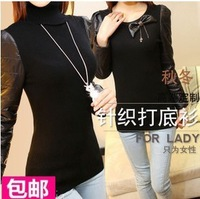 2013 spring slim female sheepskin black turtleneck sweater basic shirt genuine leather sweater