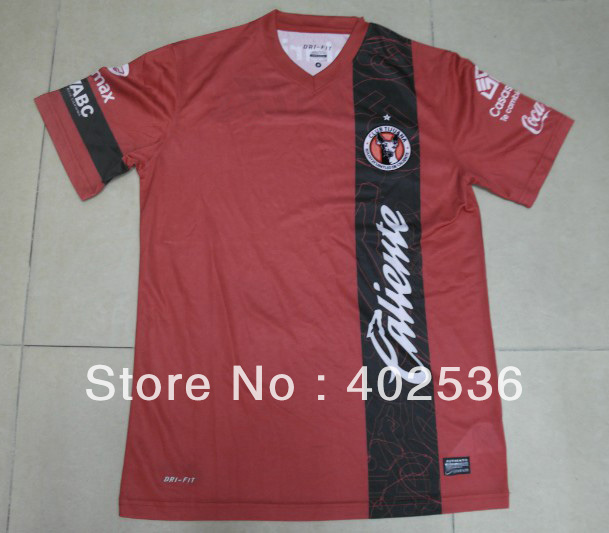 Free shipping ! 13/14 new style best quality original CLUB TIJUANA home red soccer jersey ,soccer shirt ,football jersey(China (Mainland))