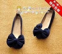 Free Shipping Fashion Ladies Summer Flat Heel Single Shoes Big Bow Round Toe Cute Flat Shoes Black/Blue/Lepoard/Orange SH-031