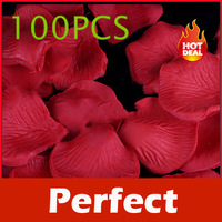 100 X Silk Rose Petals Wedding Flowers Decor Red #2