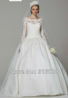 Free Shipping Elegant White/Ivory Full Satin Wedding Dresses Bridal Gowns With Lace Custom Size Wholesale/Retail