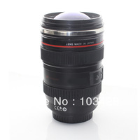 FreeShipping-Newest Camera EF 24-105mm Coffee Lens Cup Black Lens Coffe Mug with Darkblue Glass Cover