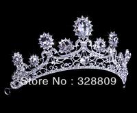 new designer hot sale clear crystal fashion Queen bridal tiara wedding crown  hair accessory