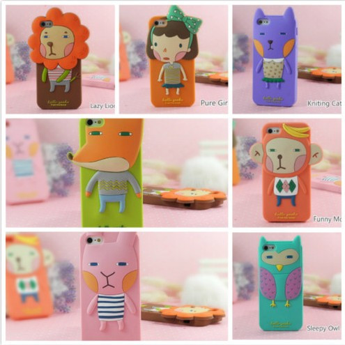 Free Shipping New Romane Hello Geeks Girl Forest Fairy Cartoon 3D Animals Owl Silicone Rubber Soft Case Cover For iPhone5 5G