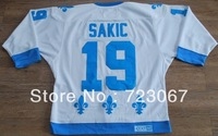 Free shipping ice hockey #19 sakic 19 white  CCM Throwback cheap Jersey jerseys hot sale gift  kuibeike