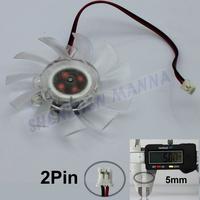 3PCS/LOT FREE SHIPPING 2 pin Computer PC VGA Video Card Heatsink Cooler Cooling Transparent Fan FS011