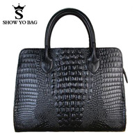 2013 Genuine Leather Crocodile Pattern 3 Colors Vintage Bag Totes Handbags Retro Shoulder Bags For Women Free Shipping GLB-046