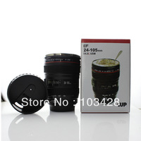 FreeShipping-Newest  coffee cup EF 24-105mm Lens mug 1:1 stainless steel camera lens mug with through water lid lens cup