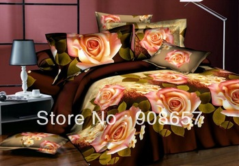 pink rose flower burgundy cheap 3D bedding sets discount oil painting print queen/full duvet covers sets 4pc for quilt/comforter