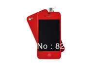 Red Front Complete LCD Display Assembly + Back Glass Battery Cover + Back Button For Iphone 4 4G New