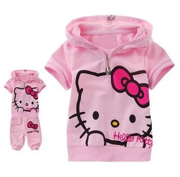 2014 New arrival 5 sets/lot cute hello kitty children/kids suit, children summer sets kids clothes