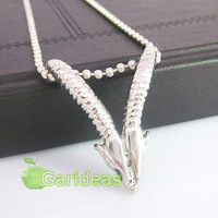 Free shipping +Wholesale  Fashion Silver Stainless Steel Goat Charm Pendant Necklace New Gift Item ID:3156