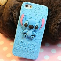 For Apple iPhone 5 Case, Adorable 3D Cute Stitch Silicone Case Cover for iPhone 5G 5 Colors Available Free Shipping