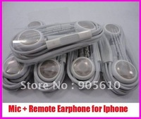 for iphone earphone/headphone with MIC Remote Volume Control free shipping