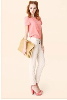 Free Shipping Brand Women Summer  Spring Autumn Slim OL Cotton  Pants, Candy Color Women Capris black/Khaki/beige/orange