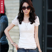 2013 summer plus size slim basic shirt fashion lace patchwork puff sleeve short-sleeve T-shirt
