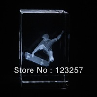 New! freeshipping! Wholesale 5*5*8cm 3D laser engraved Crystal image sports series Skateboard  souvenir gift home decoration