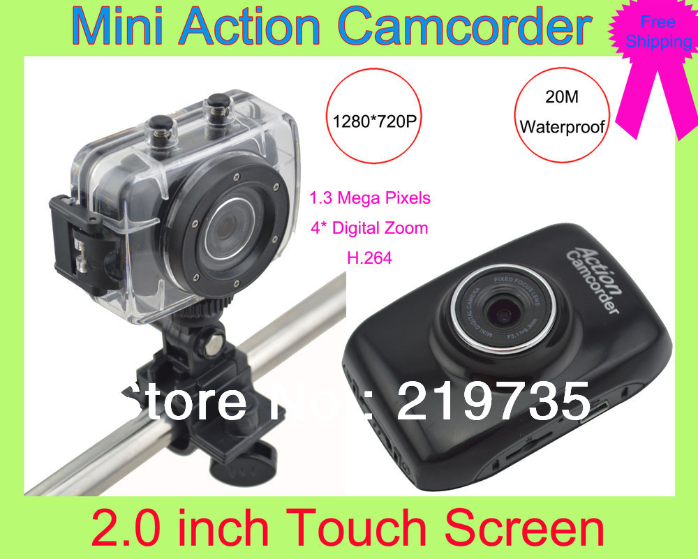"F5 Waterproof Sports DVR Action Camera Camcorder with 2.0"" LCD+Video recording+Photo taking+Vehicle camera mode+Hard disk+PC cam(China (Mainland))"