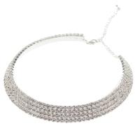 Wedding Prom Jewelry Necklace 4-Row  Inlay Clear Czech Rhinestone Crystal