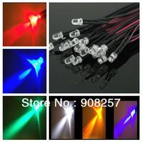 free shipping 100x Prewired LED 5mm 12V White Warm Red Green Blue Yellow UV RGB DIY