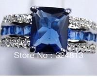 Genuine Blue Tourmaline Tanzanite Silver Ring  #1122