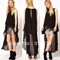 Free shipping, New arrival black sleeveless chiffon dress fashion dress beach dress