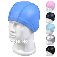 Authentic PU swim caps hats don't waterproof, elastic earmuffs great hair for men and women