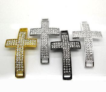 4pcs Pave Rhinestone Crystal Mixed Cross Beads/conectors 56x32mm
