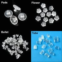 Flower,Bullet,Tube,Big Pads Hypo-Allergenic Rubber Earring Back Stopper Finding
