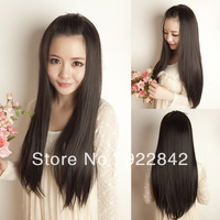 Autumn and winter long straight wig female long straight hair half wigs repair pure gentlewomen