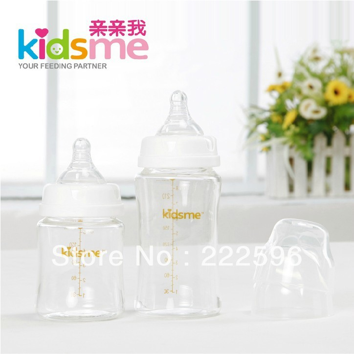 free shipping 150ml + 240ml wide caliber heat resisting silica gel nipple glass baby feeding bottles, milk bottles(China (Mainland))