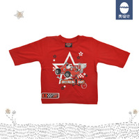 Next 100% cotton red roary automobile race print baby tee three quarter sleeve t-shirt