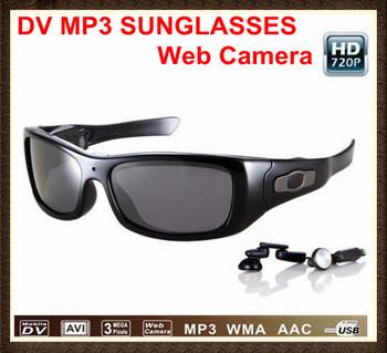Newest !!!720P HD MP3 glasses recorder video sunglasses 8GB 1280x720P HD video recording,web camera and mobile dv