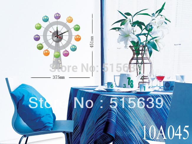 DIY Clocks Vinyl Designer Home Decor Wall Clock Sticker Mural Art Decals Dinning Room 10A045(China (Mainland))