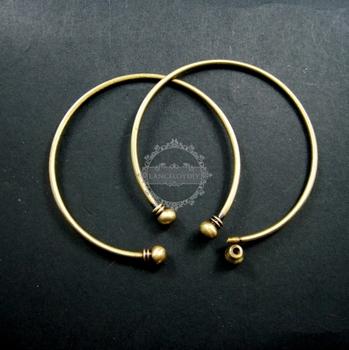 2mm thick wire one end open brass bronze vintage wiring bangle bracelet cuff DIY supplies 1900033