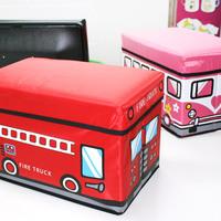Wood home bus toy storage box storage box storage stool dual storage stool